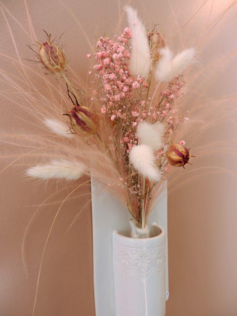 SOLIZA - Fleurs séchées et vase à suspendre